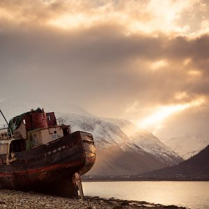 Stranded Trawler Stranded Corpach with Ben Nevis